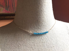 Load image into Gallery viewer, Rare Neon Apatite Bar Necklace - Fancy Sterling Chain