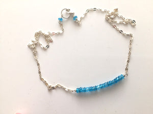 Rare Neon Apatite Bar Necklace - Fancy Sterling Chain