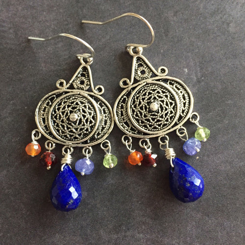 Nirvana Earrings, Lapis Lazuli