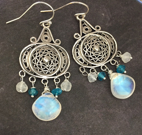 Nirvana Earrings, Rainbow Moonstone
