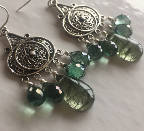 Nirvana Earrings, Rutilated and Mystic Green Quartz