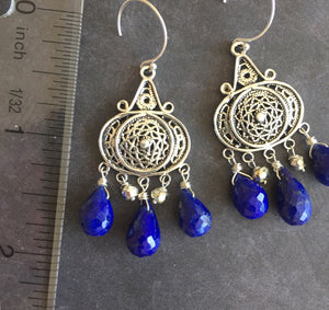 Nirvana Earrings, Triple Lapis Lazuli, Earwire Options