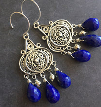 Load image into Gallery viewer, Nirvana Earrings, Triple Lapis Lazuli, Earwire Options