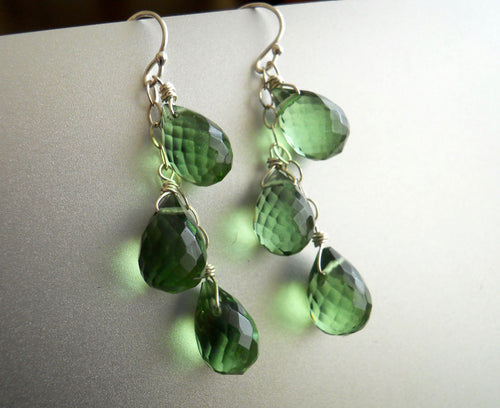 Olive-Peridot Green Triple Teardrop Earrings