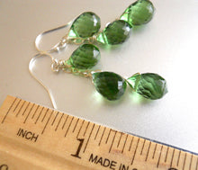 Load image into Gallery viewer, Olive-Peridot Green Triple Teardrop Earrings