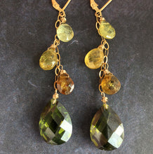 Load image into Gallery viewer, Olive Cascade Earrings, OOAK