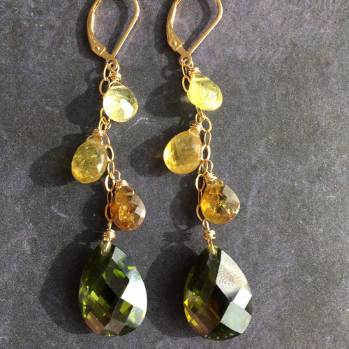 Olive Cascade Earrings, OOAK