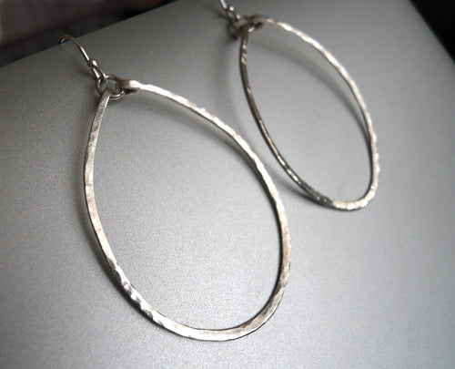 Olivia Hammered Hoop Earrings in Sterling Size: Medium