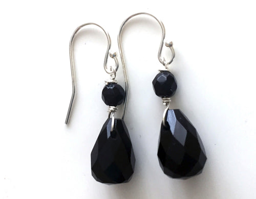 Black Teardrop Onyx  Ear Bob Earrings