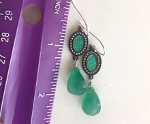 Load image into Gallery viewer, OOAK Ohh Laa Laa Black Opal in silver Earrings with Green Onyx- ONE OF A KIND