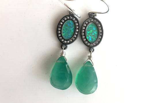OOAK Ohh Laa Laa Black Opal in silver Earrings with Green Onyx- ONE OF A KIND