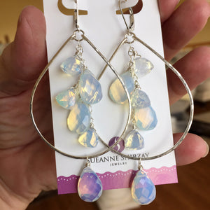 Opalite double decker hoops, metal options