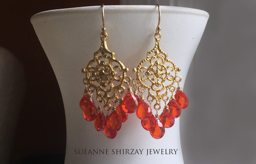 Fire Opal CZ Paradise Chandelier Earrings