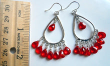 Load image into Gallery viewer, Padparadscha Sterling Chandelier Earrings