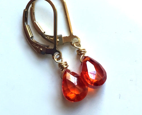 Padparadscha Teeny Earrings- Metal and Earwire options