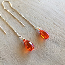 Load image into Gallery viewer, padparadscha threaders earrings sueanne shirzay