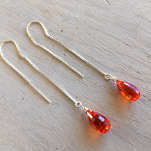 Load image into Gallery viewer, Gold or rose gold filled / Padparadscha step cut threader earrings