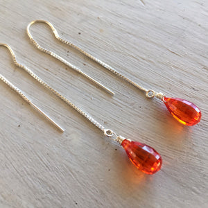 Padparadscha step cut threader earrings