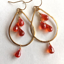 Load image into Gallery viewer, Padparadscha Orange Sapphire Look 14K Gold Filled, OR 14k Rose Gold Filled, Size: Small