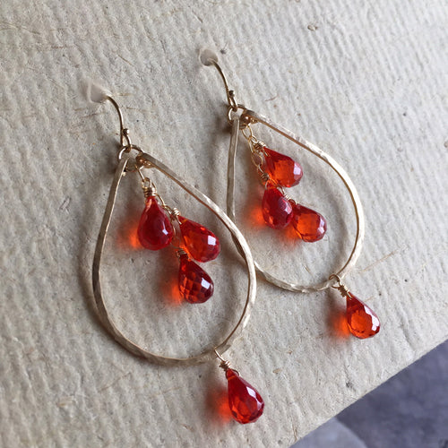 Padparadscha Orange Sapphire Look 14K Gold Filled, OR 14k Rose Gold Filled, Size: Small
