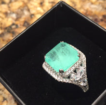 Load image into Gallery viewer, Glowing Green Paraiba Tourmaline Sparkler Ring size 8
