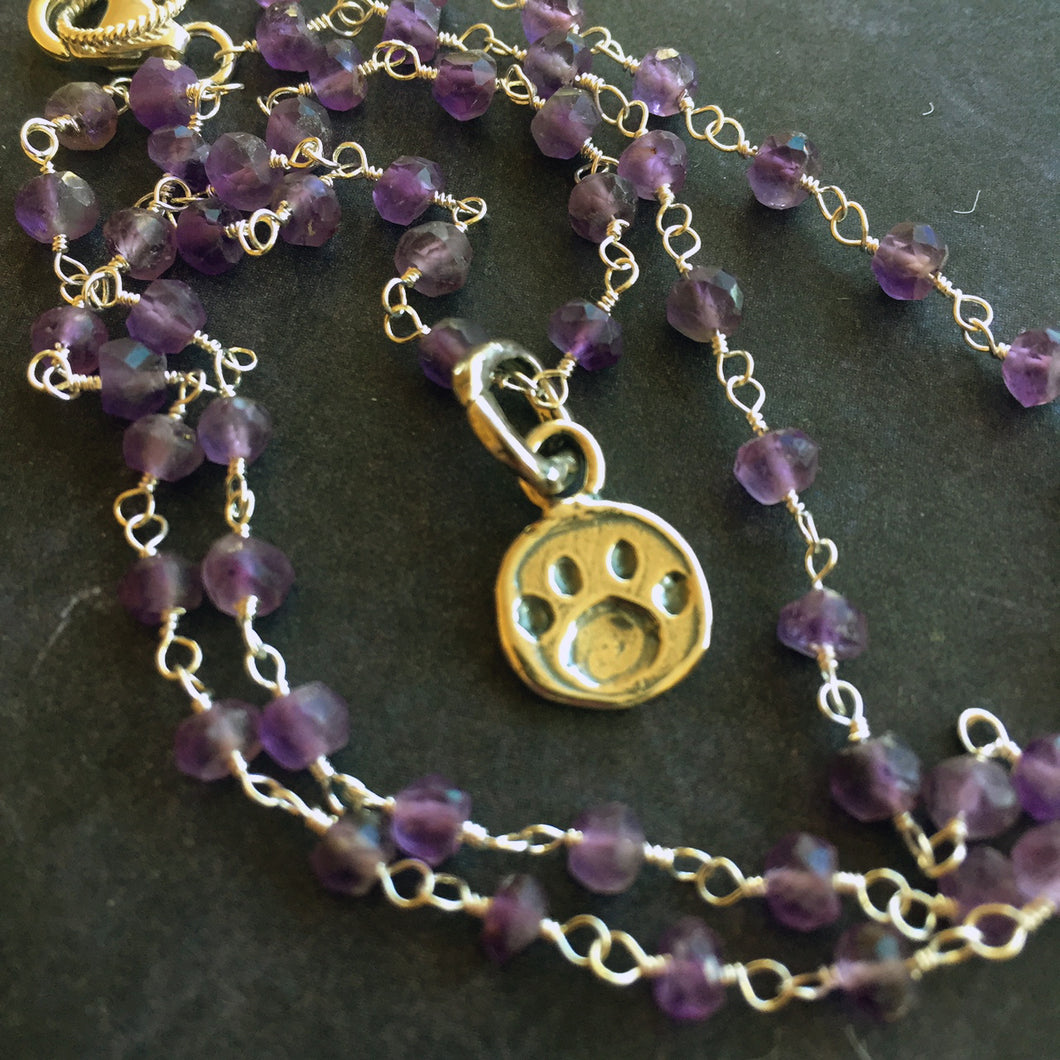 Paw Print Amethyst Necklace