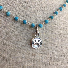 Load image into Gallery viewer, Paw Print Animal Lover Necklace, Howlite, One in stock