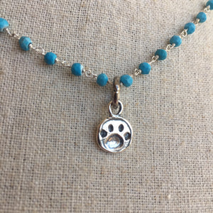Paw Print Animal Lover Necklace, Howlite, One in stock