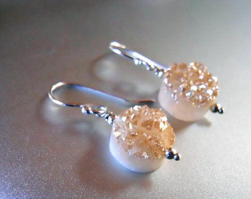 Sugar Drops Single Peach Champagne Druzy Earrings