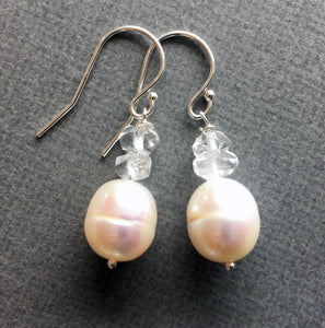 Box of CHEER special, reg $44 now from $34, Herkimer Diamond and Pearl Earrings