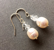 Load image into Gallery viewer, Box of CHEER special, reg $44 now from $34, Herkimer Diamond and Pearl Earrings