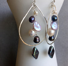 Load image into Gallery viewer, Double Decker Pearlicious Multi-pearl Hoops Metal options available by request