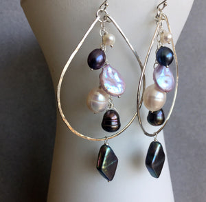 Double Decker Pearlicious Multi-pearl Hoops Metal options available by request