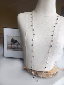 Long Pearl Necklace, Salmon and Multi, OOAK