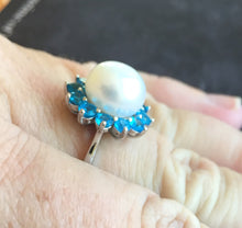 Load image into Gallery viewer, Pearly Girl, Pearl and Paraiba Apatite Ring, size 9