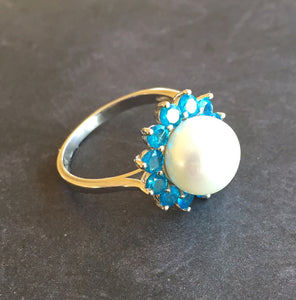 Pearly Girl, Pearl and Paraiba Apatite Ring, size 9