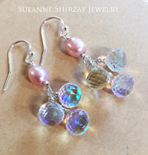 Load image into Gallery viewer, Pearls and Sparkles Rainbow Cluster Earrings