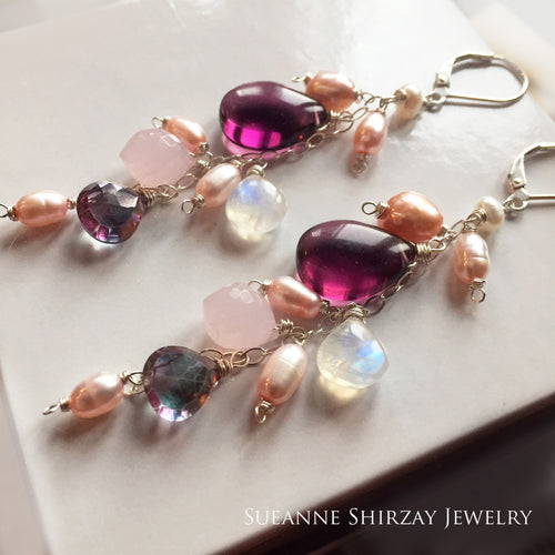 Pearls and Wine Cascade Dangles, Leverback, Sterling