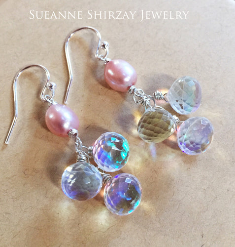 Pearls and Sparkles Rainbow Cluster Earrings
