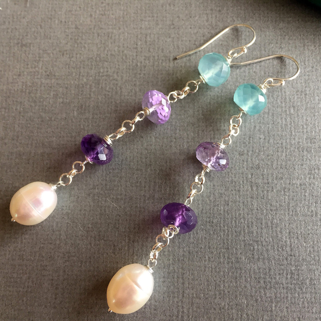 Pearly gemstone dangle earrings , Sueanne Shirzay
