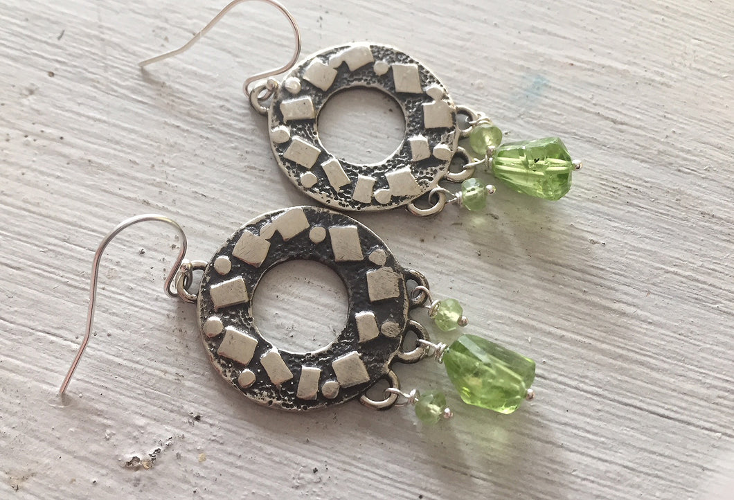 Peridot Circle Chandelier Earrings