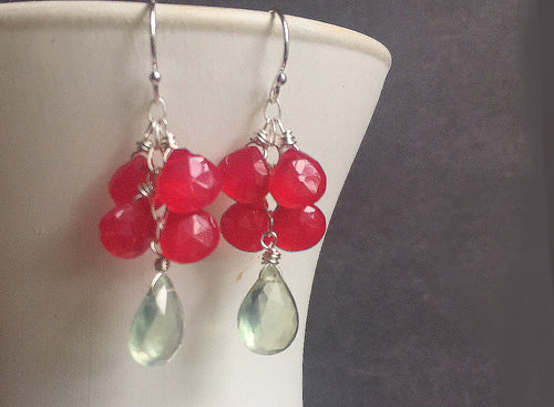 Cosmo with Lime, Prehnite and Hot Pink Dangles
