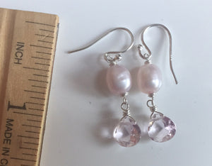 Pink Pearl Double Dangle Earrings, Sterling, Gold, or Rose Gold
