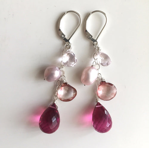 Pink Whimsy Earrings, STERLING