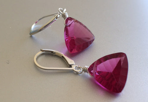 Trillionaire *pink spinel look* Earrings - Pretty in Pink, Sterling, Rose Gold or Gold, Laser Cut