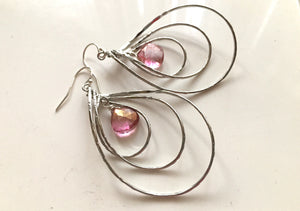 Pirouette Hoop Earrings, Pink Mystic Quartz, Silver
