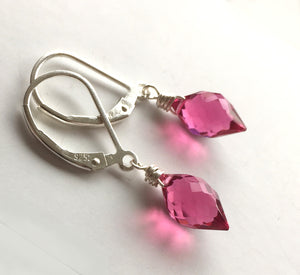 Tourmaline Pink Dewdrops, Quartz, Metal and Earwire Options