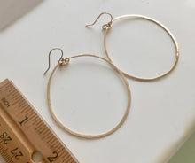 "Load image into Gallery viewer, Deborah Hammered Hoop Earrings in 14K Gold Filled, Size: 50mm, 2"", Metal choices"
