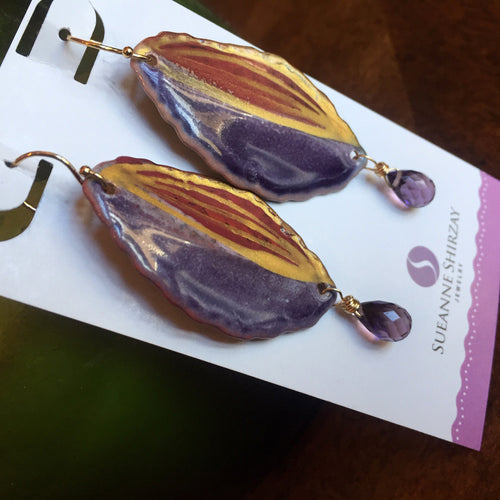 Plummy Abstract Leaf Enameled Earrings, OOAK
