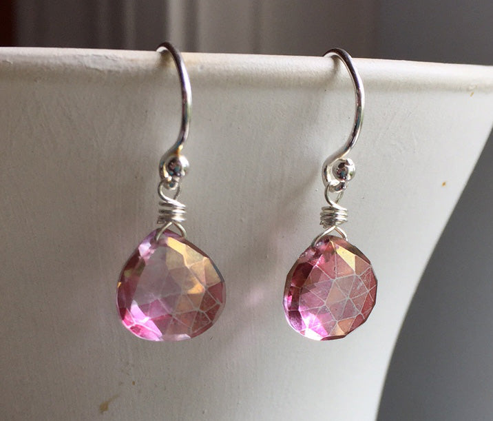 Posy Pink Teenie Earrings, silver, gold or rose gold